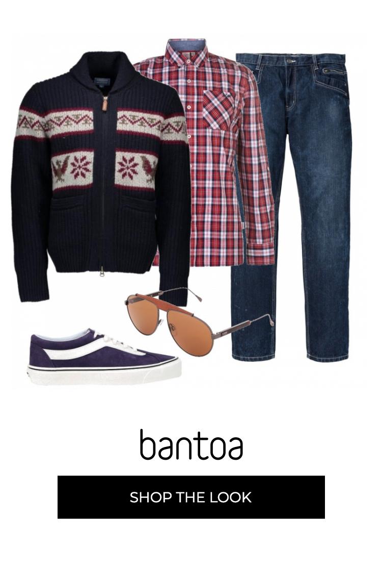 Jeans morbidi, camicia a quadretti rossi e cardigan con