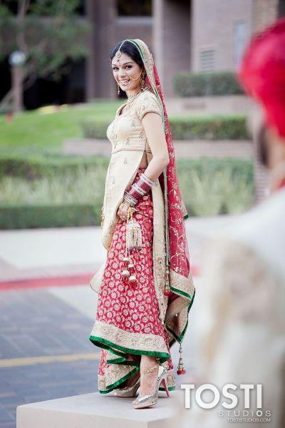 Red & Cream Bridal Lengha   Indian Wedding South Asian
