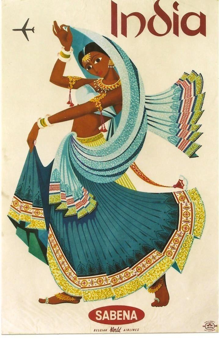 Original Vintage Poster INDIA DANCER SABENA AIRLINES 1969