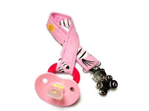 Pacifier Binkie Clip Pink Zebra Print Teddy Bear Handmade Cotton Girl   PinkCloudsAndBabyBlue - Children's on ArtFire