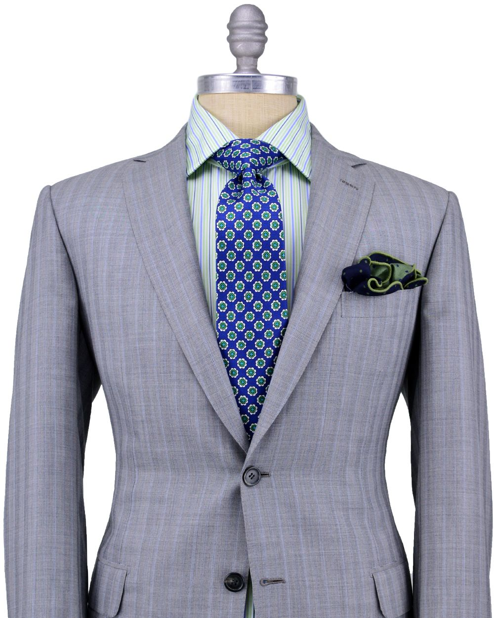 Brioni grey tonal and blue stripe suit 2 button jacket sky blue brioni grey tonal and blue stripe suit 2 button jacket sky blue cupro lining notch lapel nvjuhfo Gallery