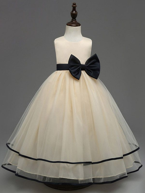 bbf1a84b69bfa Cute Champagne Flower Girl Dresses Bow Ball Gown Tulle Kids First ...