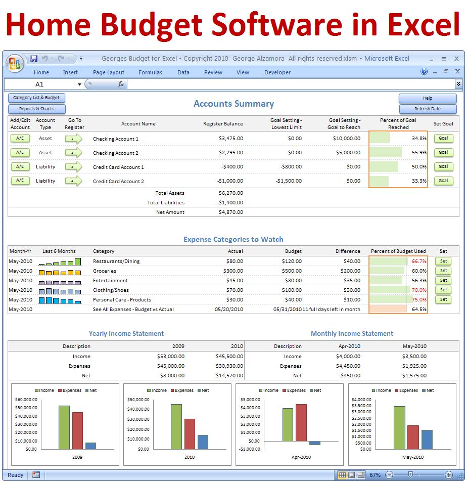 Georges Budget For Excel V10 0 Budget Spreadsheet Pinterest