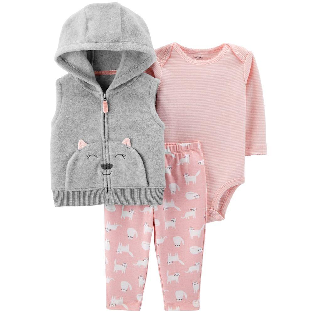 be7053fbc6 Baby Girl Carter's Fleece Cat Vest, Bodysuit & Leggings Set | baby ...
