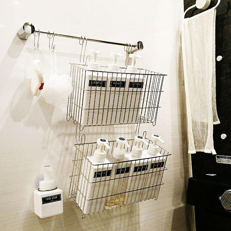 バス トイレ セリア 無印良品 バスルーム 吊り下げ収納 などの