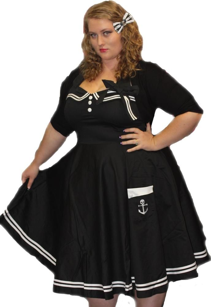 Image of PLUS SIZE - Hell Bunny Black Motley Dress