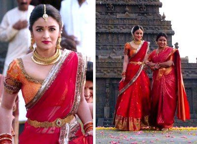 1dcc906abf948 Alia Bhat in a kanjiwaram silk half saree and wedding lehengas with gold  detailing and beautiful gold waist belt