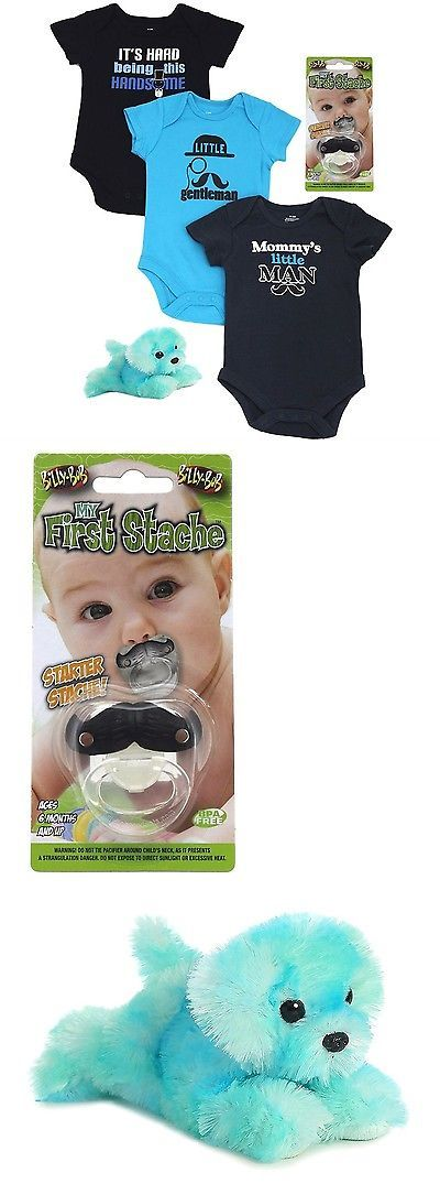 Other Newborn-5T Boys Clothes 147343: Baby Boy 3 Pack Bodysuit Set With Mustache Pacifier And Flopsie Blue Dog Bundle -> BUY IT NOW ONLY: $39.99 on eBay!