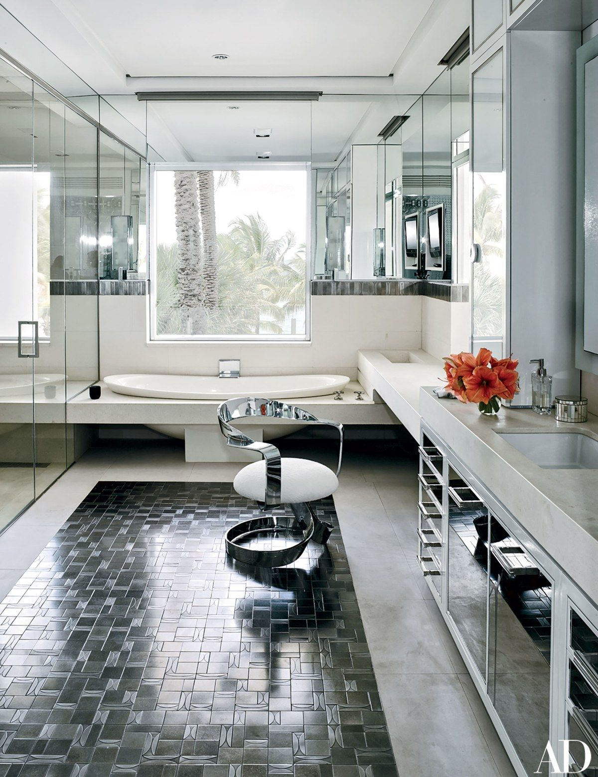 Dee\'s bath has a Kallista tub, a Caesarstone tub surround and ...