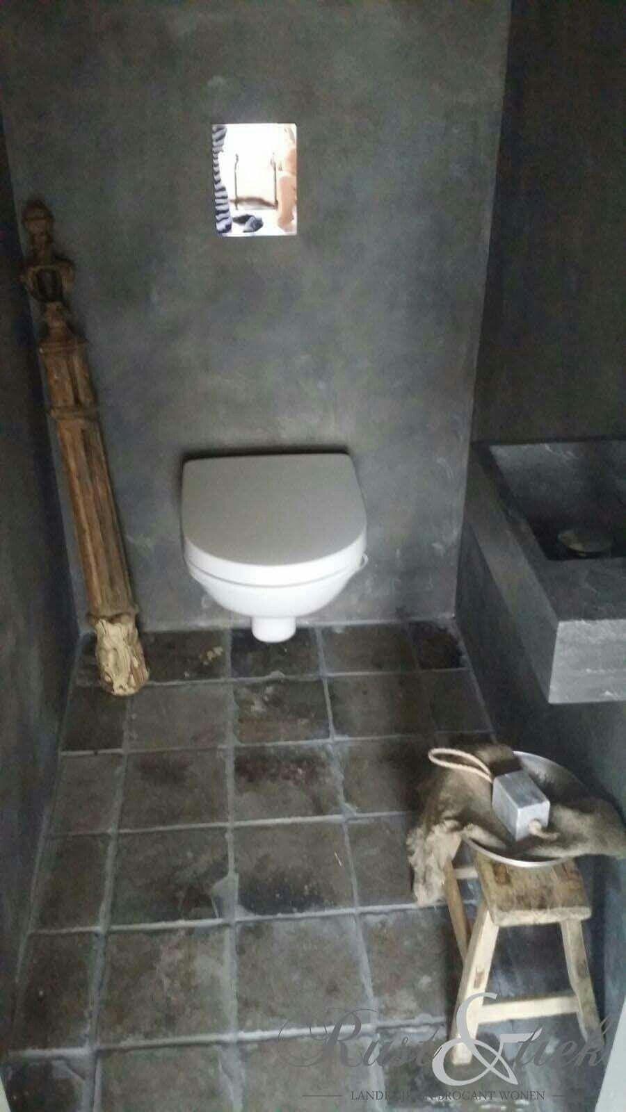 Mooi sober toilet met vloertegels van oude gesmoorde estriken inspiratie toilet pinterest - Voorbeeld deco wc ...