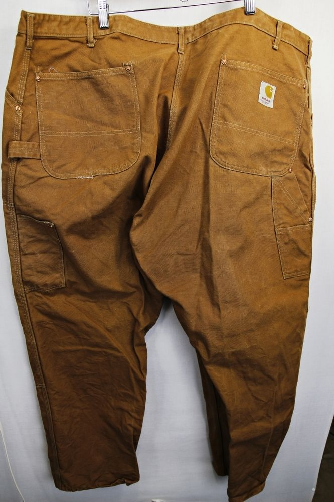 CARHARTT DUCK THICK COTTON CARPENTER HEAVY DUTY CARGO PANTS SZ ...