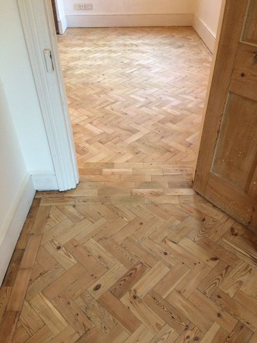 Reclaimed Pine Parquet Blocks Laid And Restored