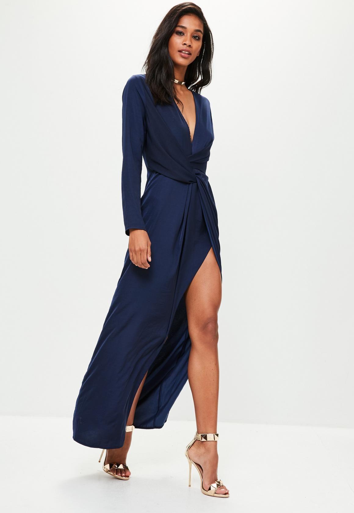 Missguided Robe Longue Cache Cœur Bleu Marine Mariage