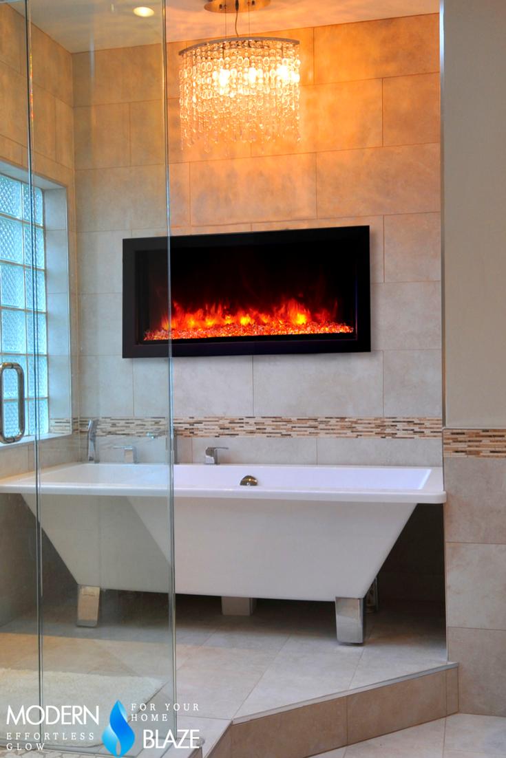 Remii Extra Slim Indoor Outdoor Frameless Built In Electric Fireplace Built In Electric Fireplace Modern Bathroom Design Grey Best Bathroom Designs