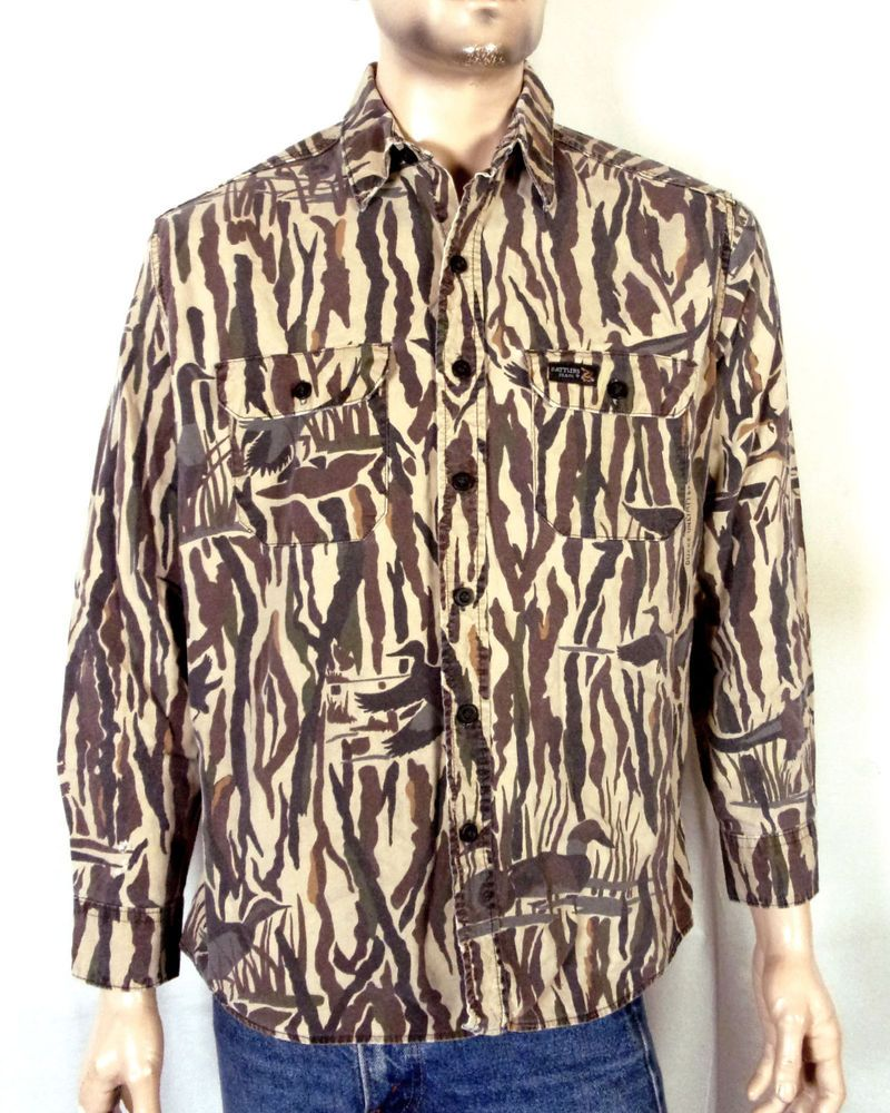 f18ae17e vtg Rattlers Brand Ducks Unlimited Camo Camouflage Hunting Shirt Button  Down L
