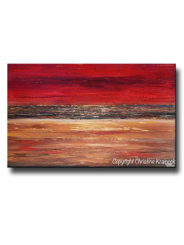 GICLEE PRINT Art Abstract Red Painting Canvas Prints Modern Urban Wall Art  Brown Gold Coastal