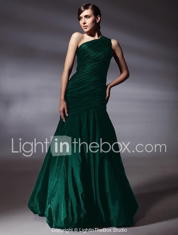 06f33b6eb9de Τρομπέτα   Γοργόνα Ένας Ώμος Μακρύ Ταφτάς Χοροεσπερίδα   Επίσημο Βραδινό  Φόρεμα με Πλαϊνό ντραπέ με TS Couture® 89607 2018 – €98.99