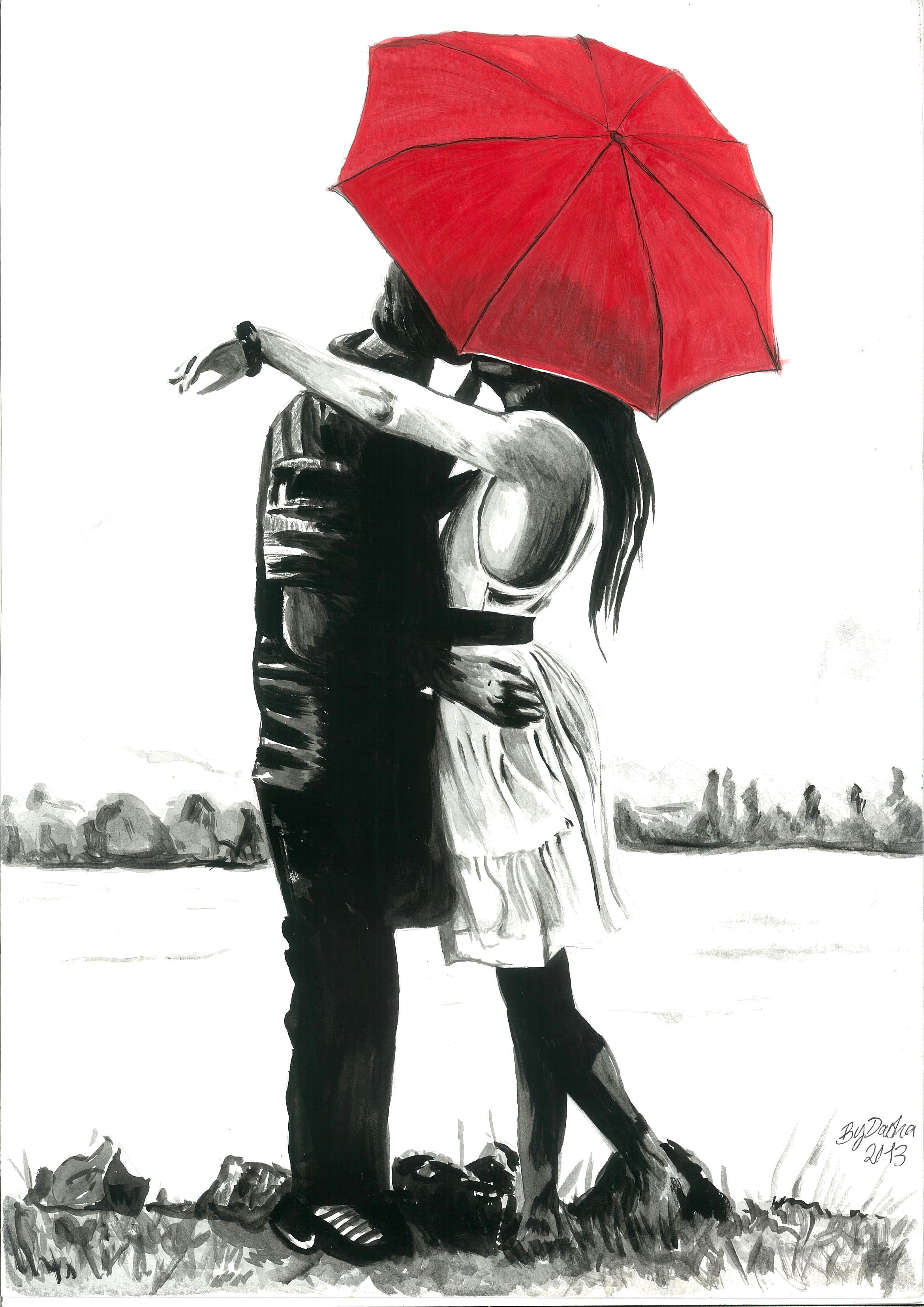 Acrylic painting of romance under the red umbrella black