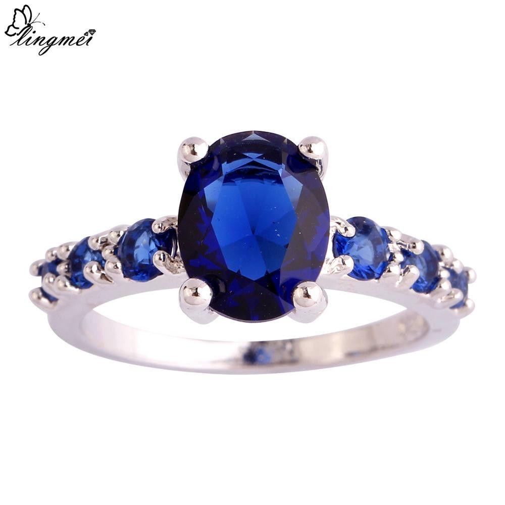 Unisex Fashion Jewelry Sapphire Quartz Multi-Color Silver Ring Size 6 7 8 9 10 11 12 13