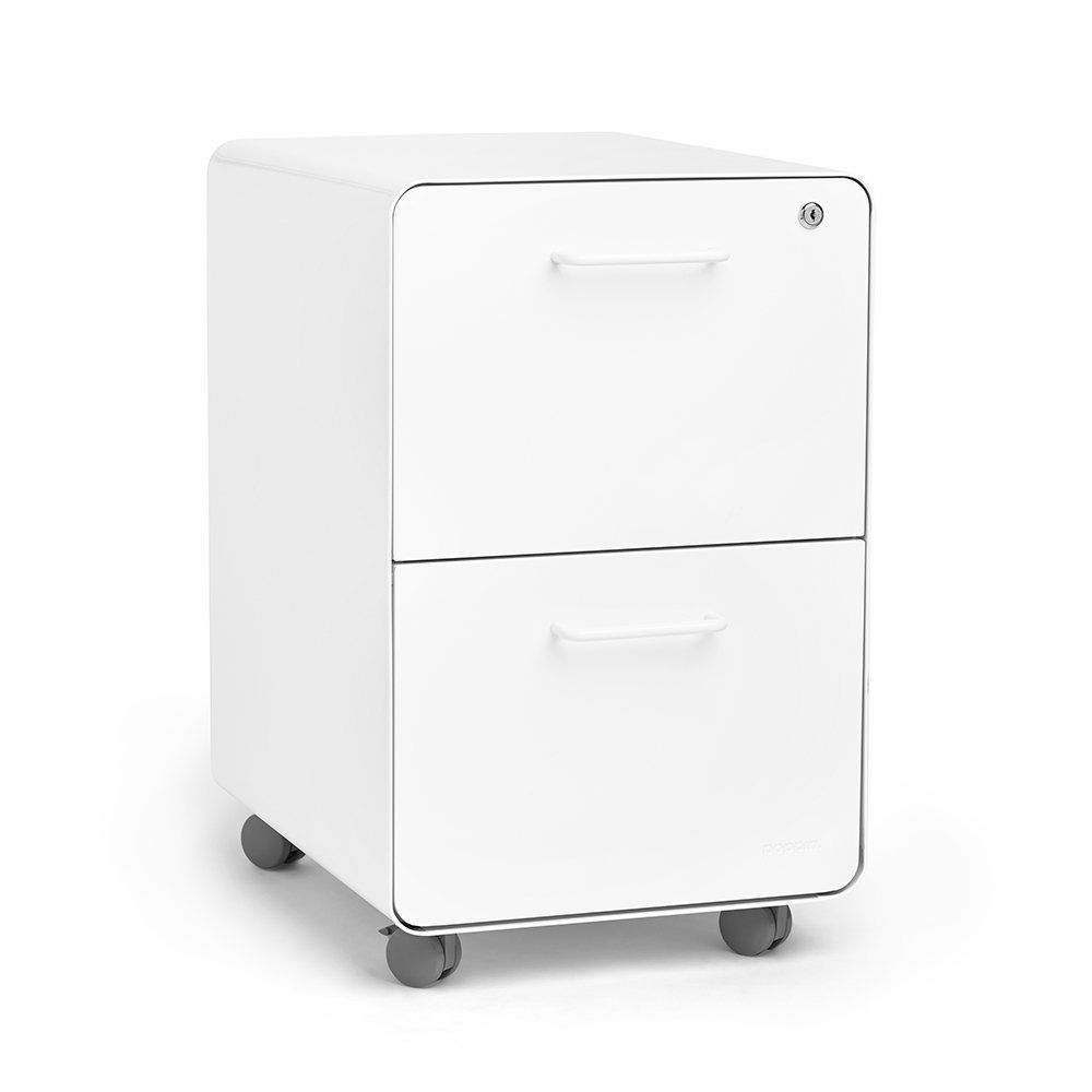Amazon.com : Poppin White Stow Rolling 2-Drawer File Cabinet ...