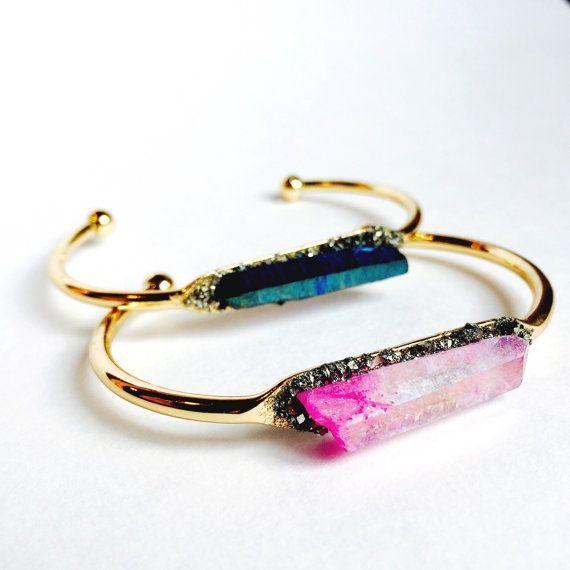 50716efd08af6d Raw crystal cuff bracelet Colorful crystal bungle by LeaSpirit #handmade  #crystal #quartzcuff #linkinmyprofile