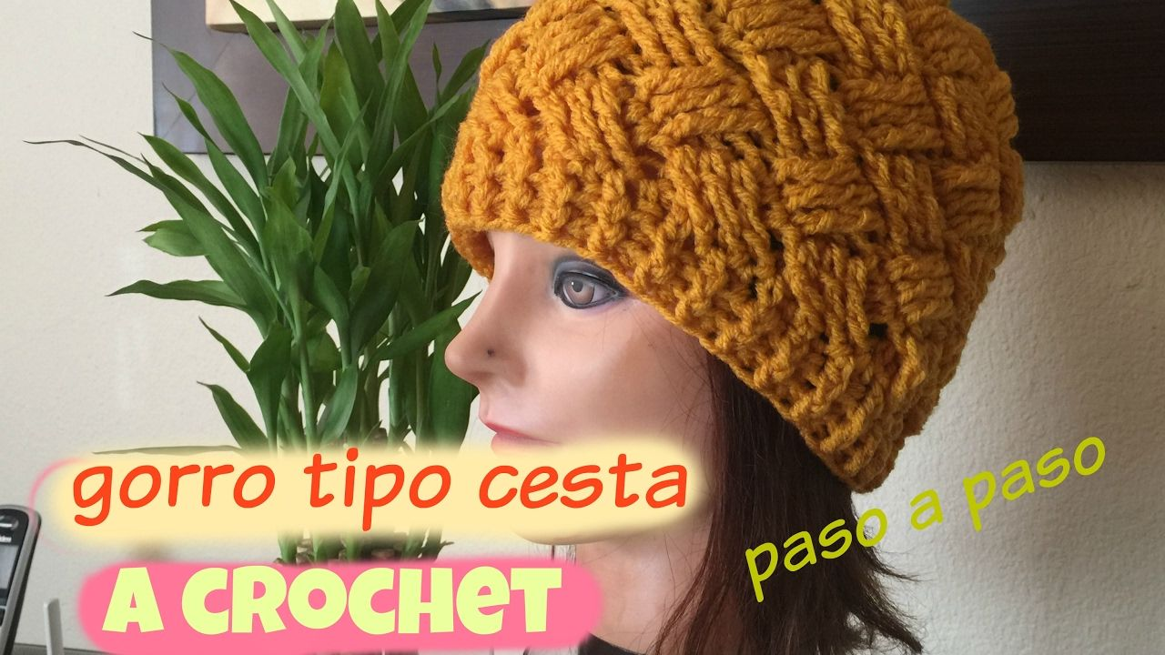 Gorro Tejido A Crochet Cruzado Tipo Cesta   Mützen   Pinterest ...