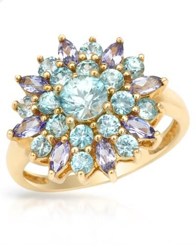 MAGNOLIA Brand New Ring With 2.80ctw Precious Stones - Genuine Tanzanites, Topazes Yellow Gold
