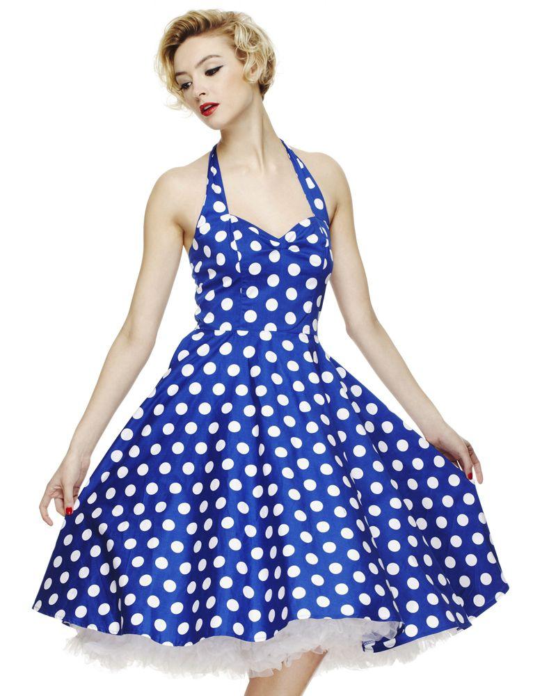 Womens Vintage 50s Mariam White Polka Dot Blue Dresses | Dresses ...