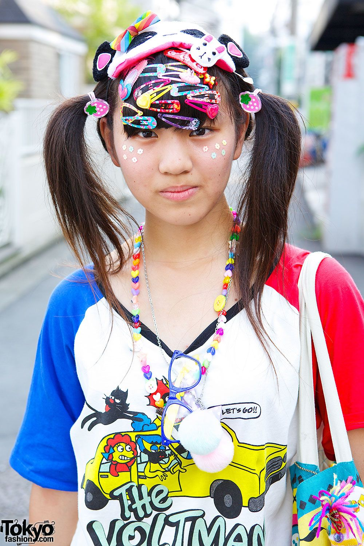 Decora Style In Harajuku W Neon Tutu Hair Clips Panda Mask Harajuku Fashion Street Japanese Fashion Trends Harajuku
