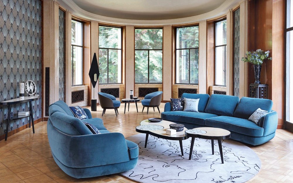 Roche Bobois Unveils New Pieces Featuring The Work Of Jean Cocteau Galerie Timeless Sofa Blue Living Room Furniture