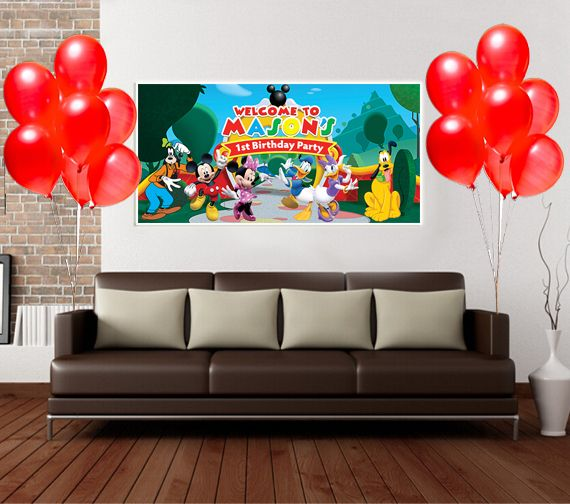 Mickey Birthday Banner Personalized Party Backdrop Decoration