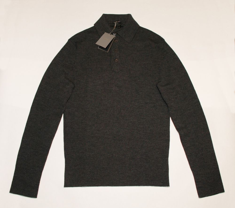 ae3fcb43 TOM FORD Men's Long-Sleeve Merino Wool Polo Charcoal Grey Size 50IT 40US  New NWT (eBay Link)