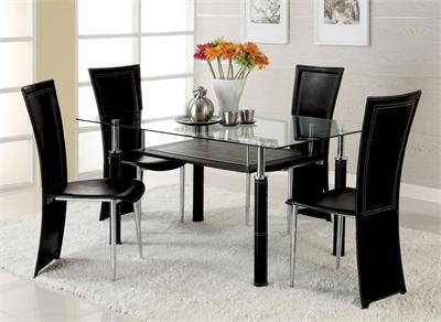 Joshua Antique Silver Glass Dining Set Modern Dining Table