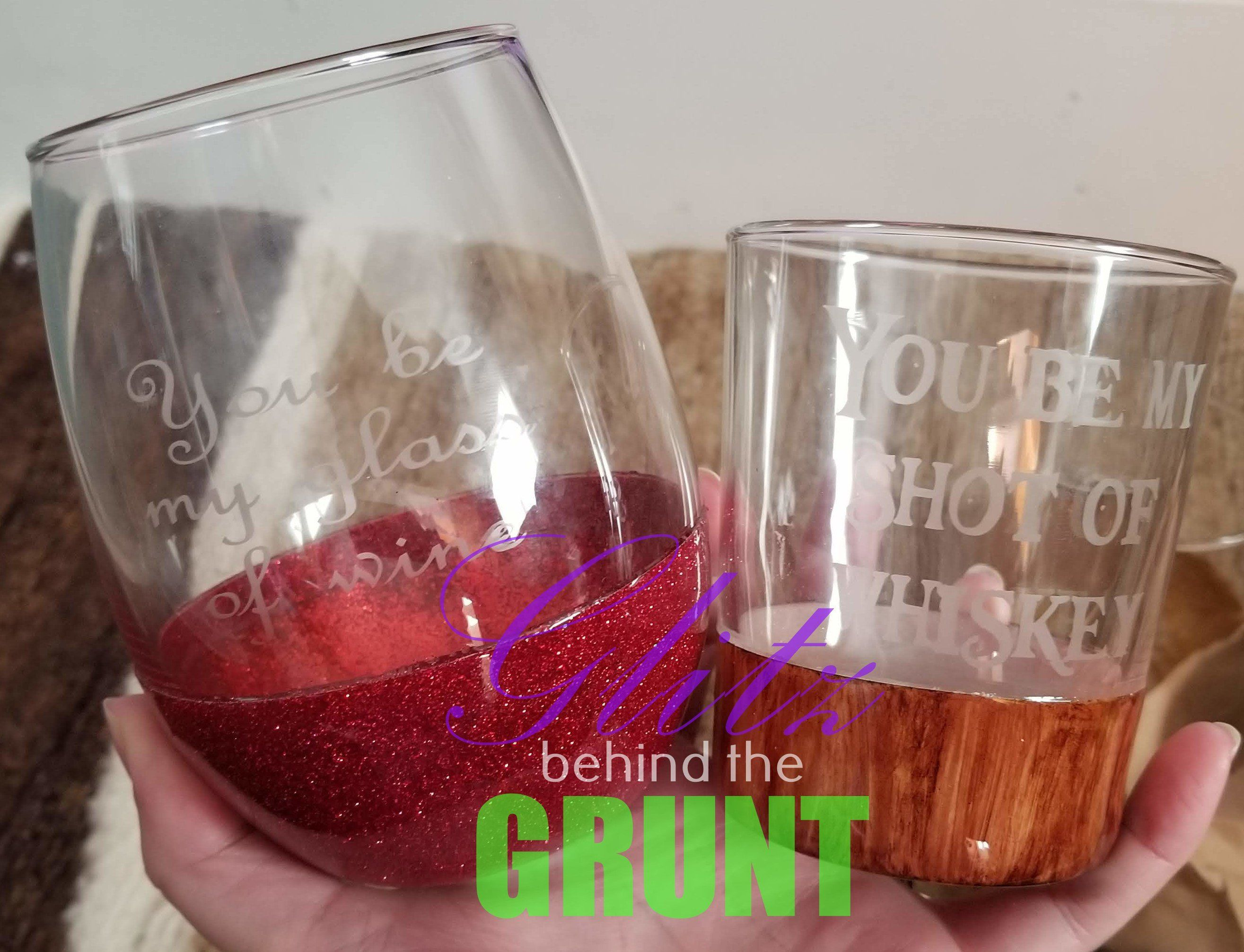 Wine And Whiskey Glass Set By Glitzbehindthegrunt On Etsy Glass Set Stemless Wine Glass Glass