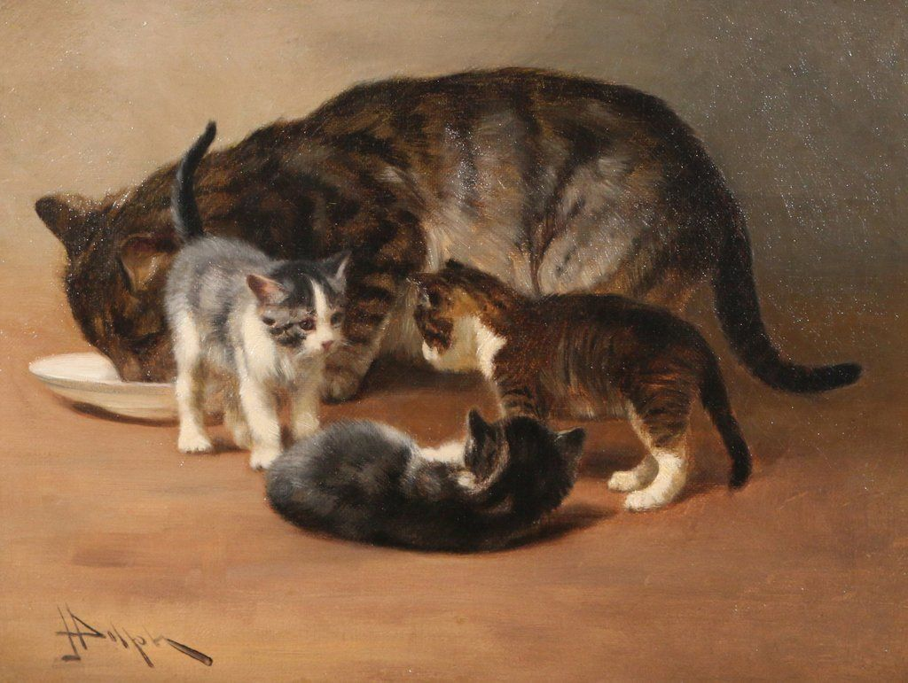 JOHN HENRY DOLPH (American, 1835-1903) - Three kittens with their mother