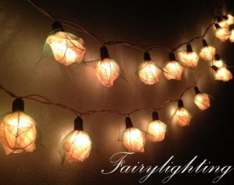 Fairy String Lights   35 White Rose Flower Fairy String Lights Hanging  Wedding Gift Party Patio,Bedroom Fairy Lights,Home Floral Decor By  Fairylighting On ...