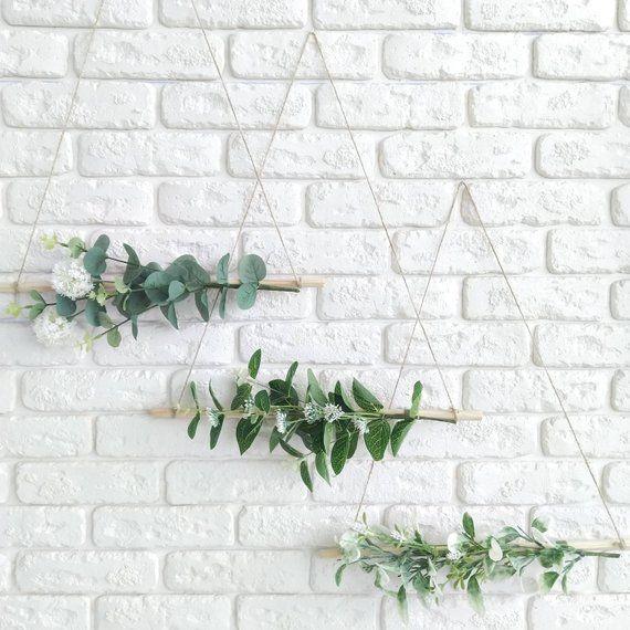 Photo of Greenery set of 3 Botanical wall hanging Eucalyptus wreath Asymmetrical wreath Minimalist wreath Greenery modern wreath Scandinavian decor