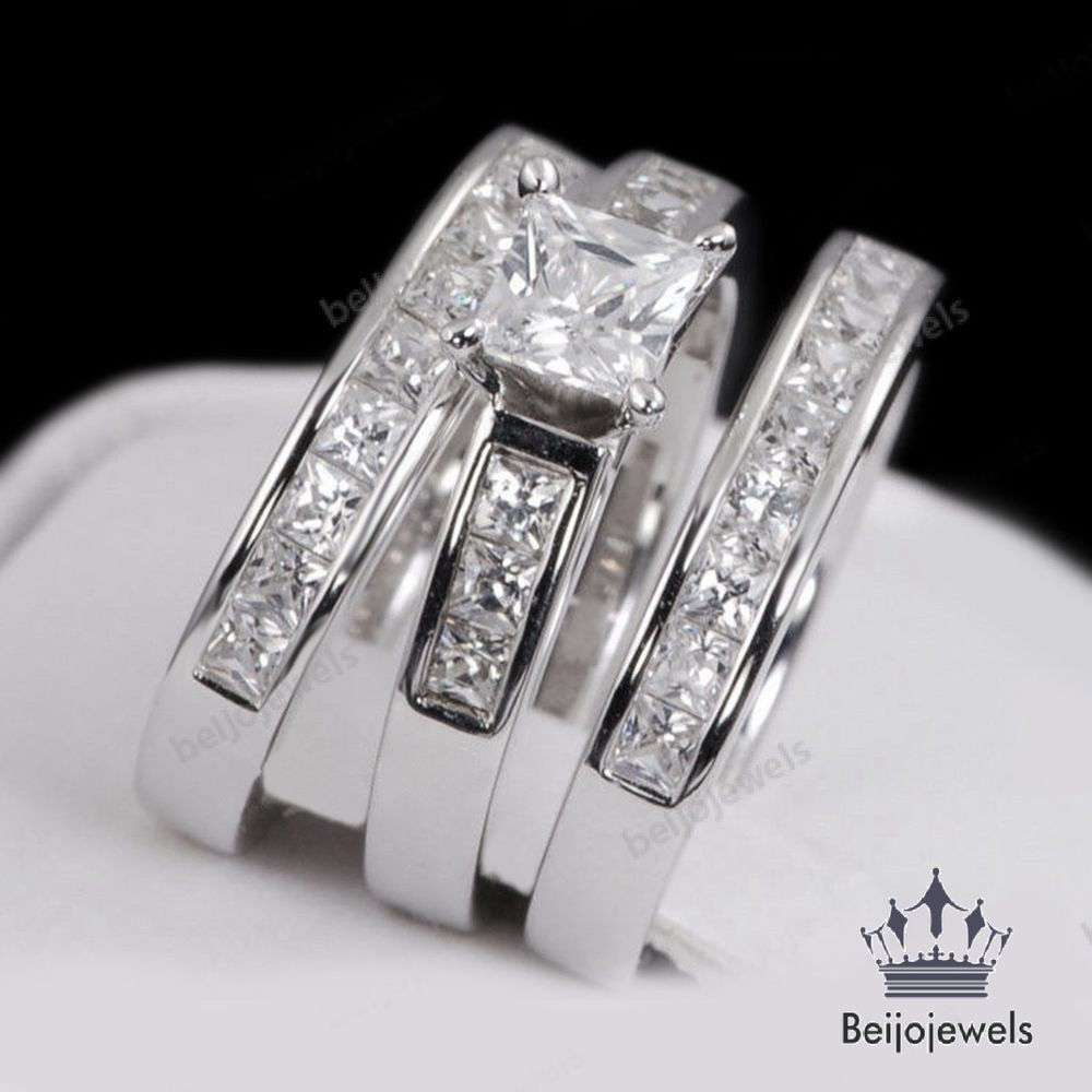 LADIES WOMENS 3 PIECE ENGAGEMENT WEDDING BRIDAL RING SETS PRINCESS