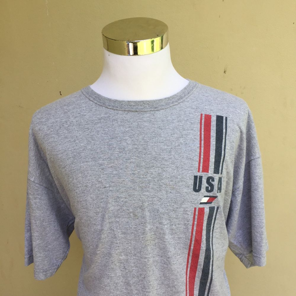 Vintage 90s Grey Tommy Hilfiger Flag Spell Out Graphic T Shirt Size XXL    eBay