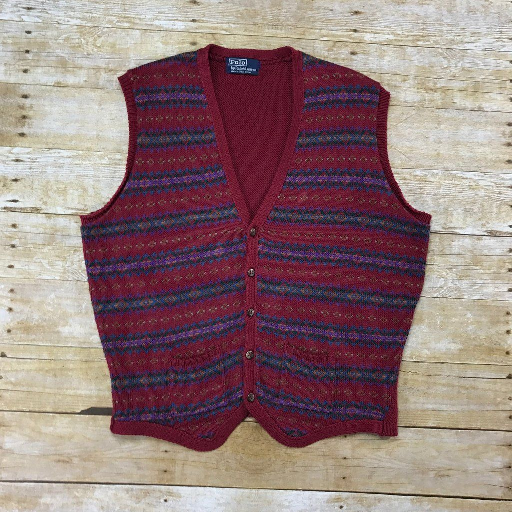 Vintage Polo by Ralph Lauren Maroon Striped 5-Button Sweater Vest ...