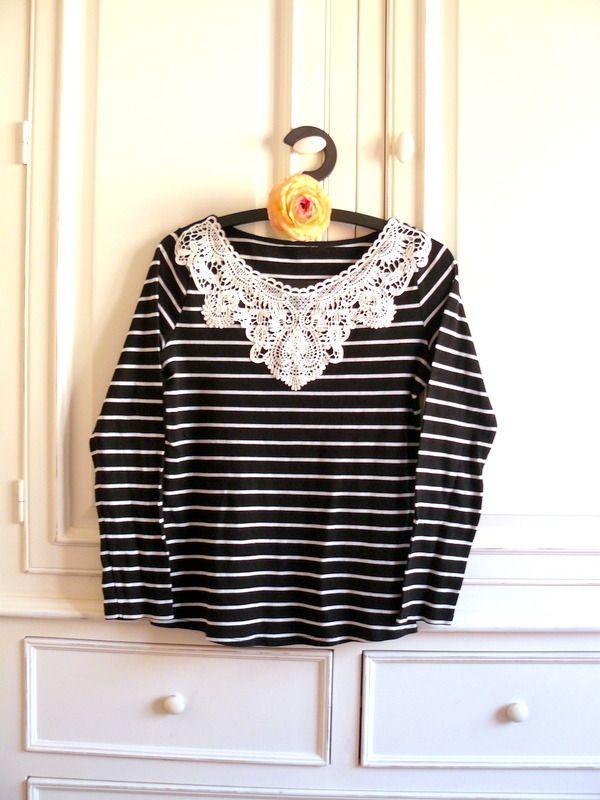 T-shirt Dentelle Guipure et Rayures noir et blanc, Taille 40, Manches Longues : T-Shirt, debardeurs par mon-armoire-jolie sur alittlemarket