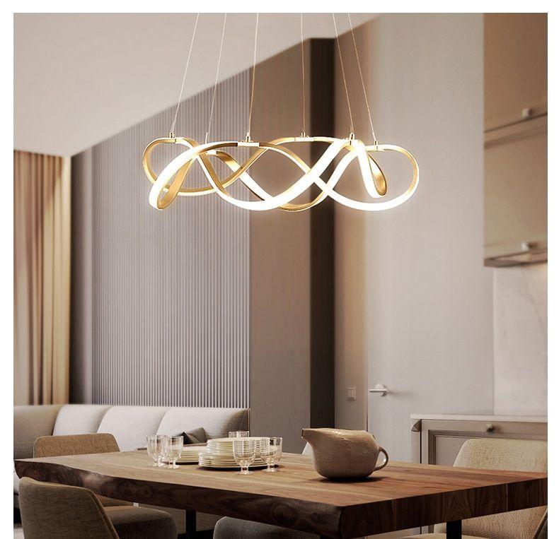 Modern Dimmable Led Chandelier Lighting Aluminum Living Room Led Penda In 2020 Dining Room Chandelier Modern Led Dining Room Lighting Contemporary Dining Room Lighting