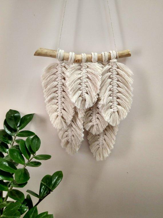 Feather Macrame, Macrame Banner, Yarn Wall Art, Modern Macrame, Wall Hanging, Boho Wall Hanging, Boho Dorm Room, Wall Tapestry Macrame