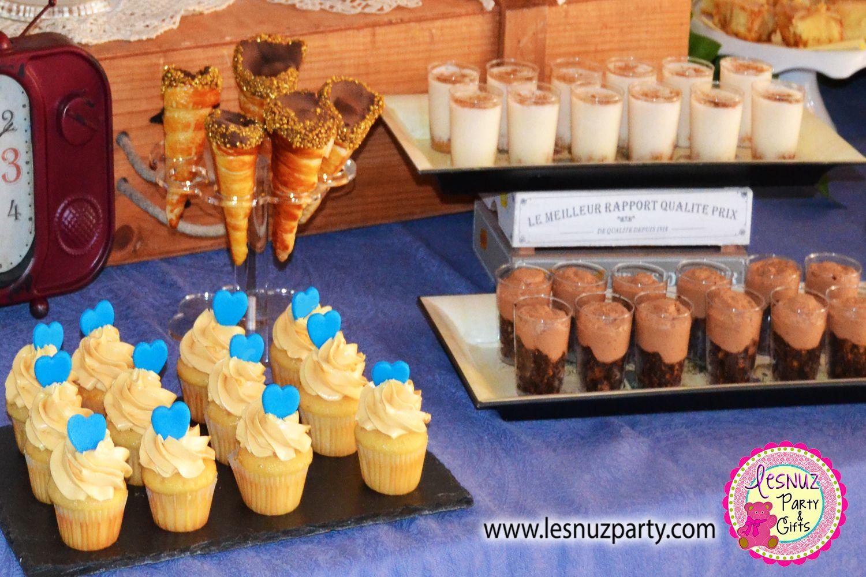 Cupcakes, shots de chocolate y brownie, shots de crema de arroz con leche y conos de hojaldre con nata y chocolate.