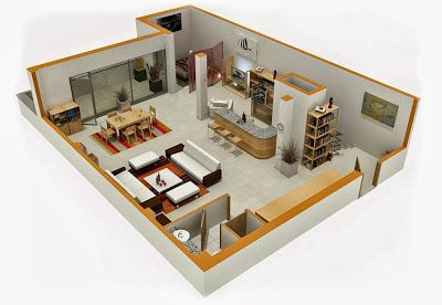 Departamentos peque os planos y dise o en 3d casas for Disenos departamentos pequenos planos