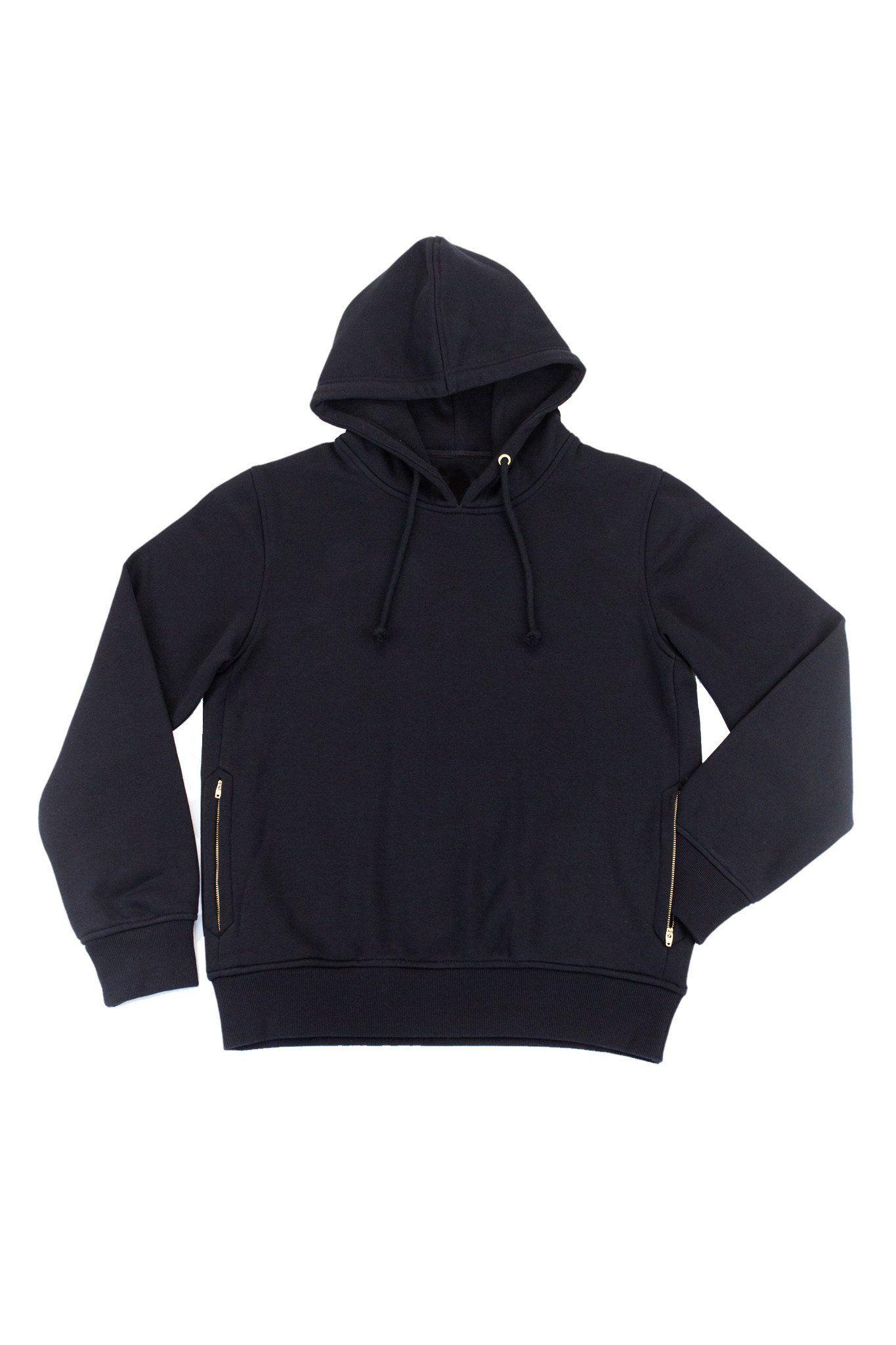 Men Black Pullover Hoodie With Side Zip Pockets Long Sleeve Plain And Cotton Fleece Hooded Sweatshirts Stylish Hoodies Womens Fashion Hoodies Unisex Hoodies [ 2048 x 1365 Pixel ]