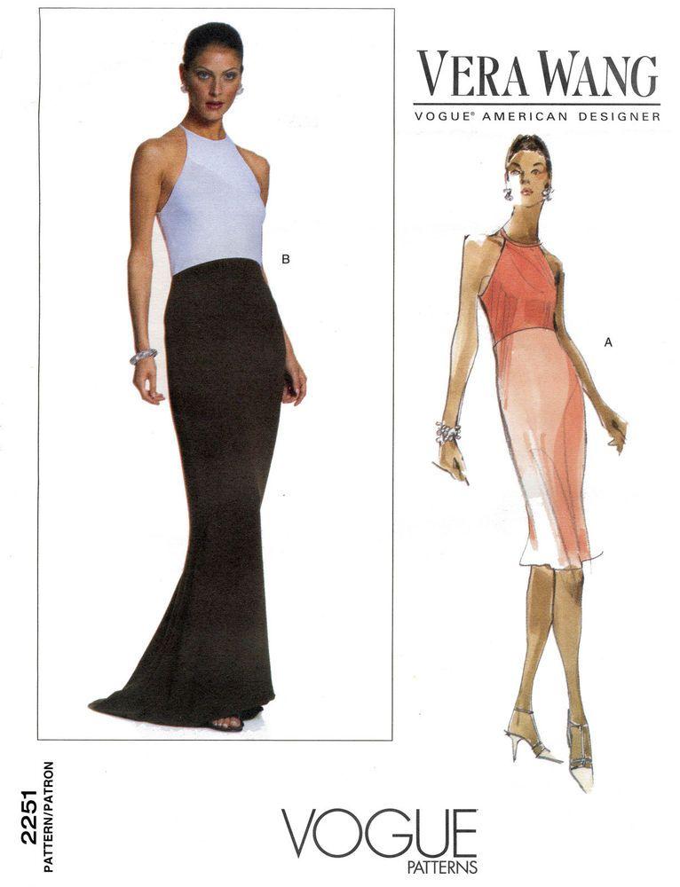 Vogue 2251 Vera Wang Dress - Evening & Mid-knee Length Sewing ...
