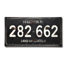Adeco Decorative Iron Wall Sign Plaque, Illinois Pride License Plate Black  White Home Decor