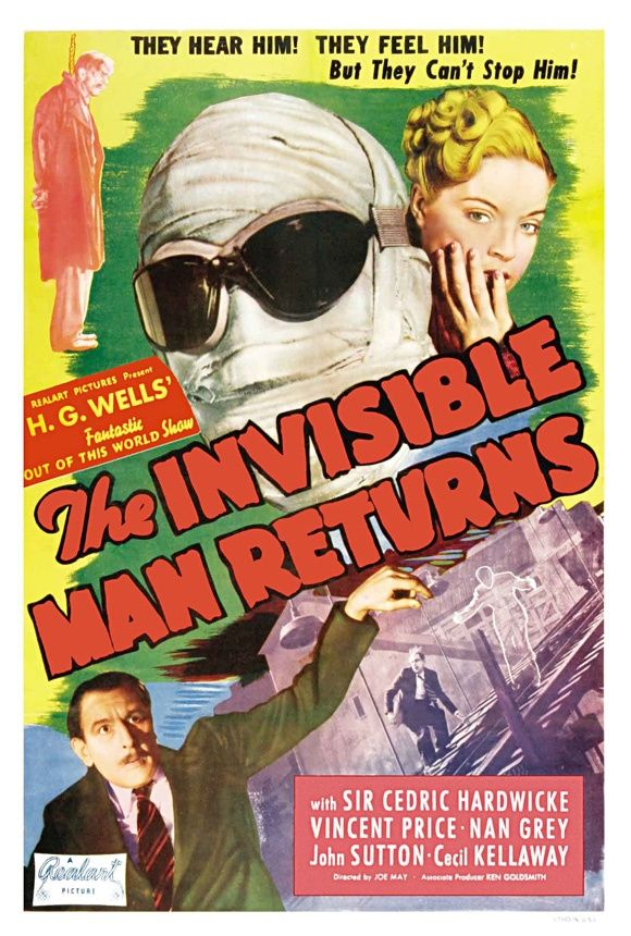 1940s Vintage Movie Posters The Invisible Man Returns 1940 Science Fiction Movie Posters Movie Posters Vintage Old Film Posters