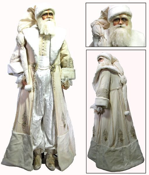 """Katherine's Collection Azure Ice Christmas Collection Life Size 60"""" Snow King Santa Claus Display Doll With Stand Free Ship"""